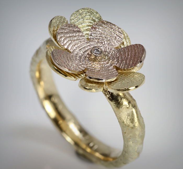 goldline herinneringssieraad vingerafdruk bloem